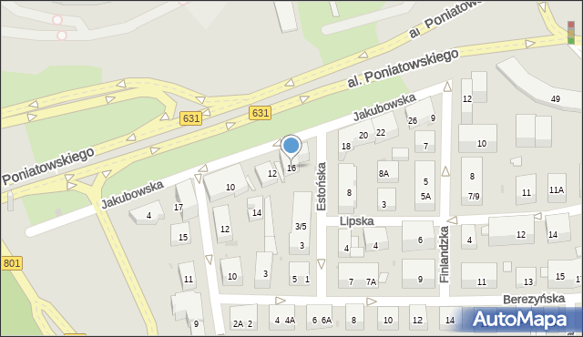 Warszawa, Jakubowska, 16, mapa Warszawy