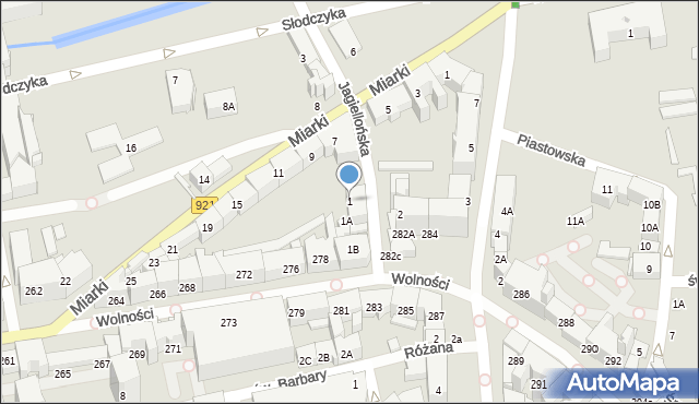 Zabrze, Jagiellońska, 1, mapa Zabrza