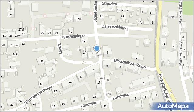 Zabrze, Jagiellońska, 19, mapa Zabrza
