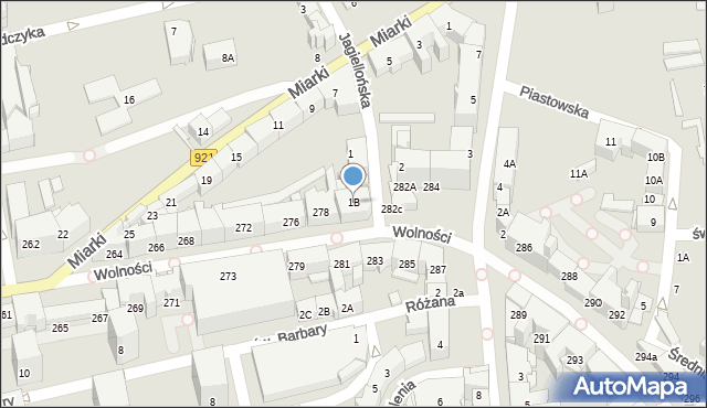 Zabrze, Jagiellońska, 1B, mapa Zabrza