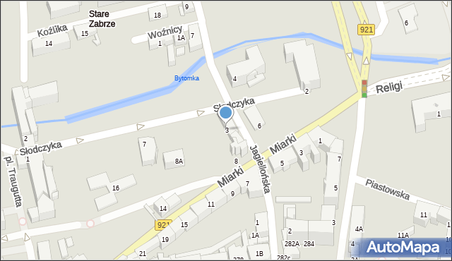 Zabrze, Jagiellońska, 3, mapa Zabrza