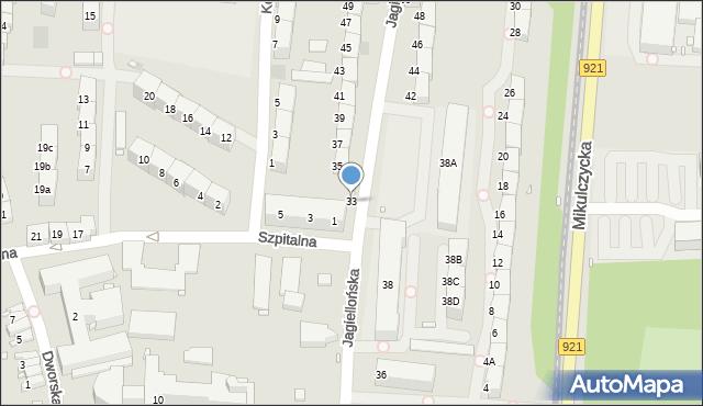Zabrze, Jagiellońska, 33, mapa Zabrza