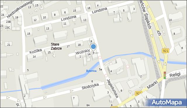 Zabrze, Jagiellońska, 7, mapa Zabrza