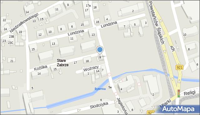 Zabrze, Jagiellońska, 9, mapa Zabrza