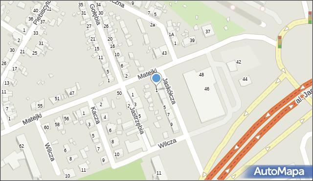 Zabrze, Jaskółcza, 1, mapa Zabrza