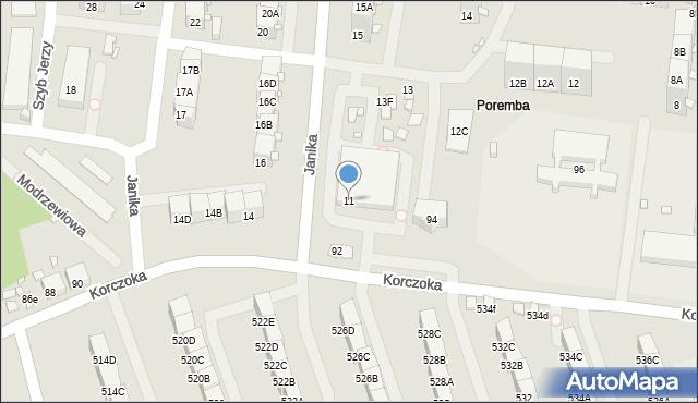 Zabrze, Janika Pawła, ks., 11, mapa Zabrza