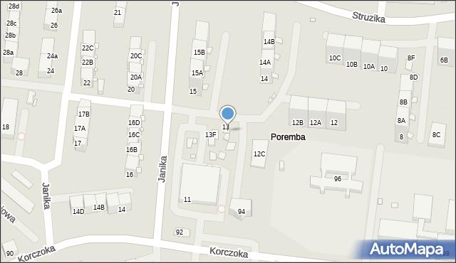 Zabrze, Janika Pawła, ks., 13A, mapa Zabrza