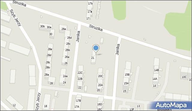 Zabrze, Janika Pawła, ks., 21a, mapa Zabrza