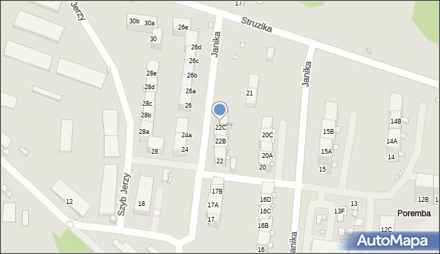 Zabrze, Janika Pawła, ks., 22C, mapa Zabrza