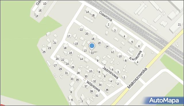 Zabrze, Jaśminowa, 11, mapa Zabrza