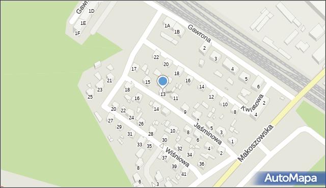 Zabrze, Jaśminowa, 13, mapa Zabrza