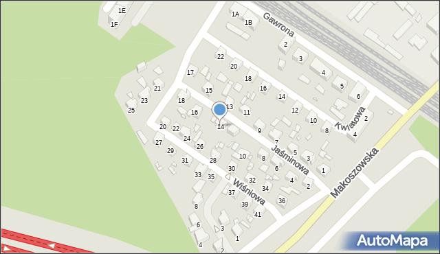 Zabrze, Jaśminowa, 14, mapa Zabrza