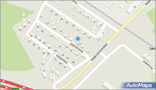 Zabrze, Jaśminowa, 5, mapa Zabrza