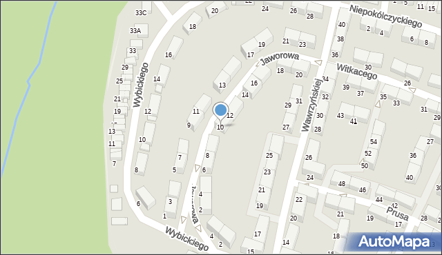 Zabrze, Jaworowa, 10, mapa Zabrza