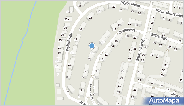 Zabrze, Jaworowa, 11, mapa Zabrza