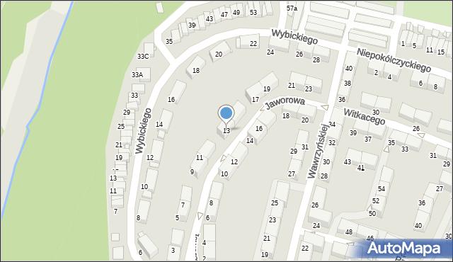 Zabrze, Jaworowa, 13, mapa Zabrza