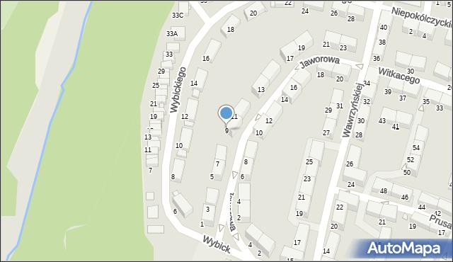 Zabrze, Jaworowa, 9, mapa Zabrza