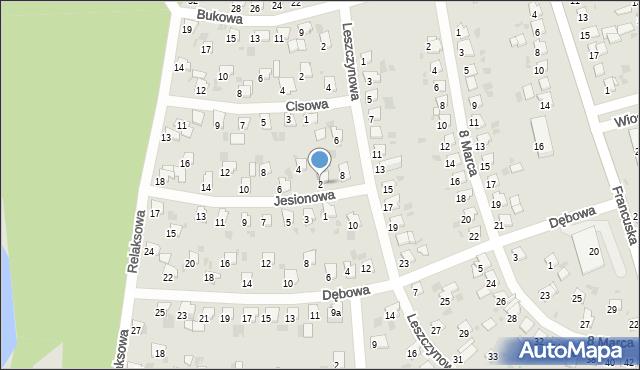 Bytom, Jesionowa, 2, mapa Bytomia
