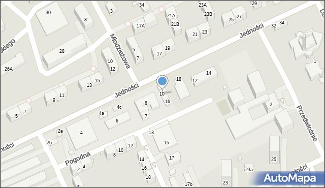 Gliwice, Jedności, 10, mapa Gliwic
