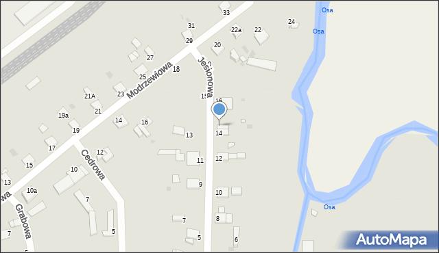 Grudziądz, Jesionowa, 14a, mapa Grudziądza