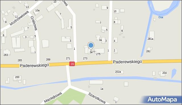 Grudziądz, Jesionowa, 1a, mapa Grudziądza