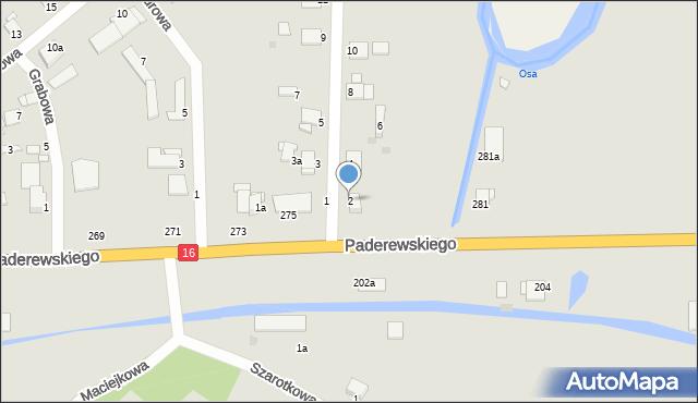 Grudziądz, Jesionowa, 2, mapa Grudziądza