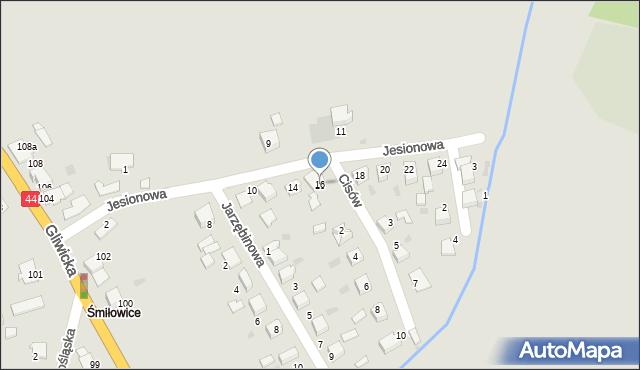 Mikołów, Jesionowa, 16, mapa Mikołów