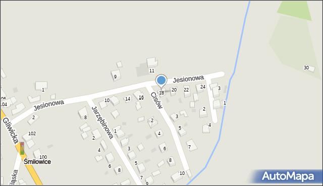Mikołów, Jesionowa, 18, mapa Mikołów