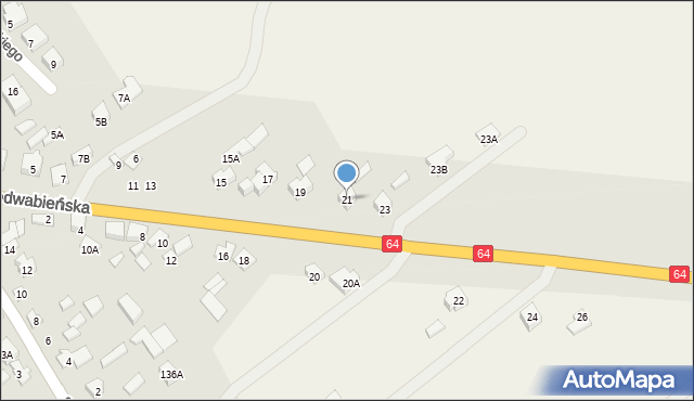 Piątnica Poduchowna, Jedwabieńska, 21, mapa Piątnica Poduchowna