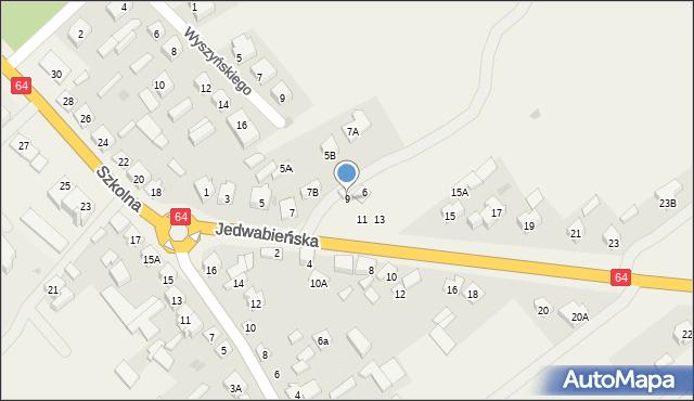 Piątnica Poduchowna, Jedwabieńska, 9, mapa Piątnica Poduchowna