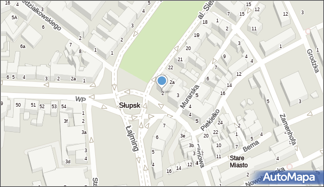 Słupsk, Jedności Narodowej, 2, mapa Słupska
