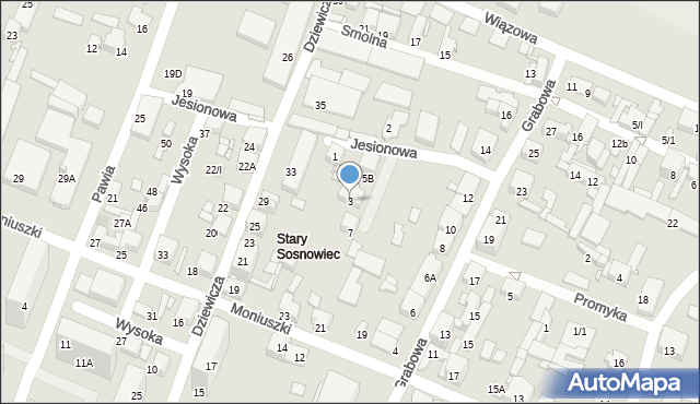 Sosnowiec, Jesionowa, 3, mapa Sosnowca