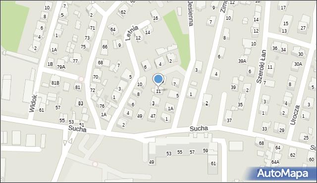 Sosnowiec, Jesienna, 11, mapa Sosnowca