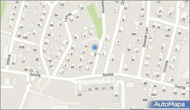 Sosnowiec, Jesienna, 5, mapa Sosnowca