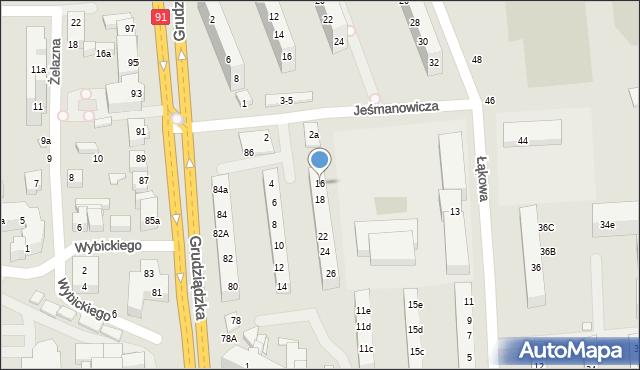 Toruń, Jeśmanowicza Leona, 16, mapa Torunia