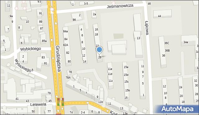 Toruń, Jeśmanowicza Leona, 26, mapa Torunia