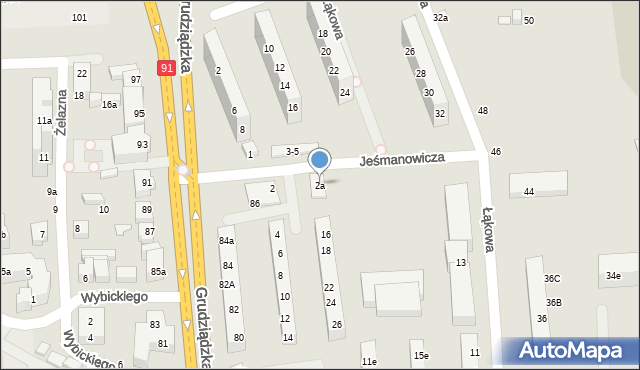 Toruń, Jeśmanowicza Leona, 2a, mapa Torunia