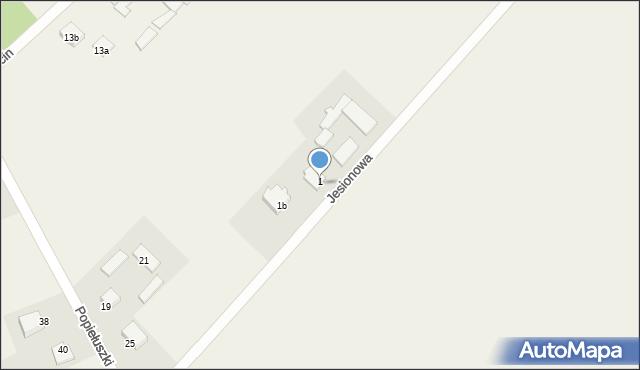 Żanecin, Jesionowa, 1a, mapa Żanecin