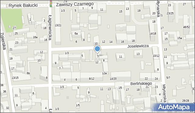 Łódź, Joselewicza Berka, płk., 7, mapa Łodzi