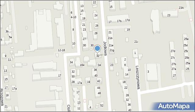 Toruń, Jodłowa, 32, mapa Torunia