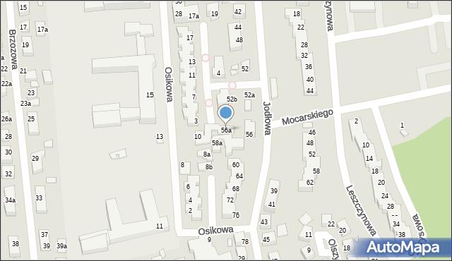 Toruń, Jodłowa, 56a, mapa Torunia