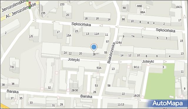 Warszawa, Joteyki Tadeusza, 18, mapa Warszawy