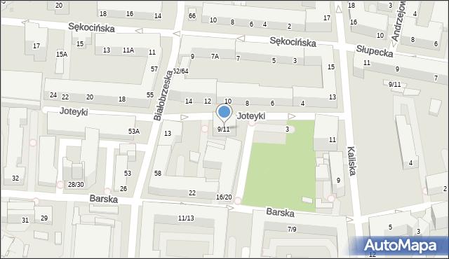 Warszawa, Joteyki Tadeusza, 9/11, mapa Warszawy