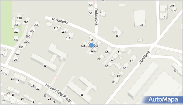 Zabrze, Jordana Henryka, dr., 103, mapa Zabrza