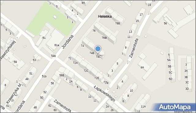 Zabrze, Jordana Henryka, dr., 74C, mapa Zabrza