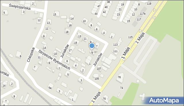 Ruda Śląska, Junaków, 5, mapa Rudy Śląskiej