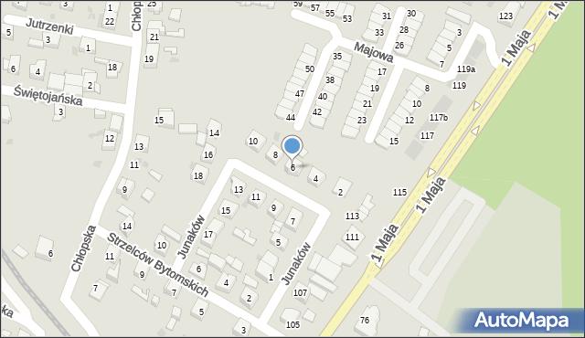 Ruda Śląska, Junaków, 6, mapa Rudy Śląskiej