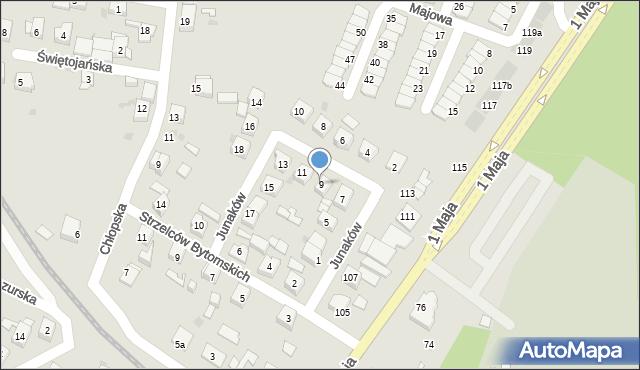 Ruda Śląska, Junaków, 9, mapa Rudy Śląskiej