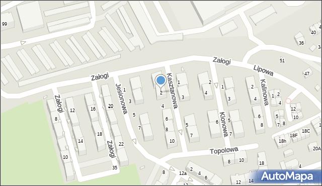 Będzin, Kasztanowa, 2, mapa Będzin