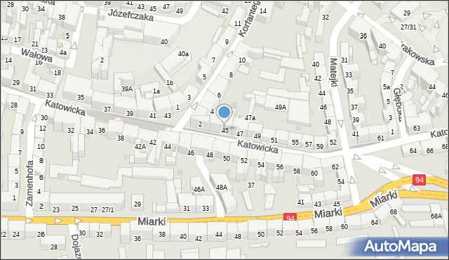 Bytom, Katowicka, 45, mapa Bytomia